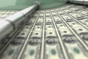 $100 bills on printing press